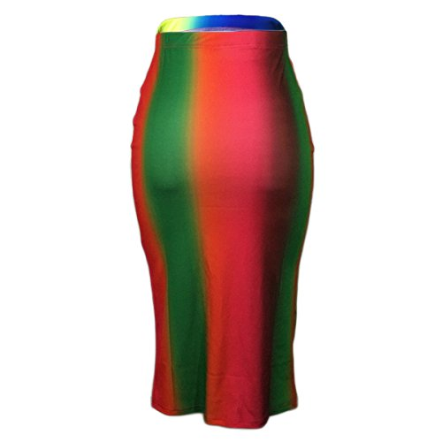 Femmes Tie haute Clubwear Stretchy Bodycon Rouge jupes Dye Qikaka taille imprim partie Ax7EtwAdq