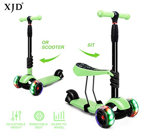 XJD 3-in-1 Kick Scooter Toddler Scooter with Removable Seat Great for Kids Boys Girls Adjustable Height Extra-Wide Deck PU Flashing Wheels Children from 2 to 14 Year-Old Green