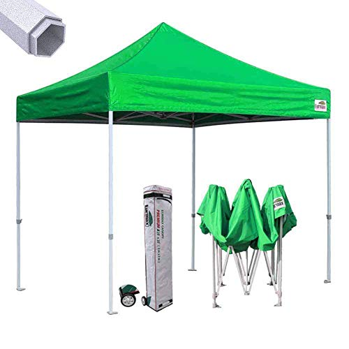 Eurmax Premium 10 x10 Ez Pop-up Canopy Tent Commercial Instant Shelter with Heavy Duty Wheeled Carry Bag Kelly Green