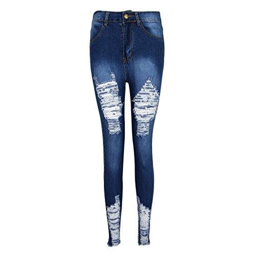 Skinny per Donne Moda Strappati Fenteer Blu Jeans Leggings wxC6gpBq
