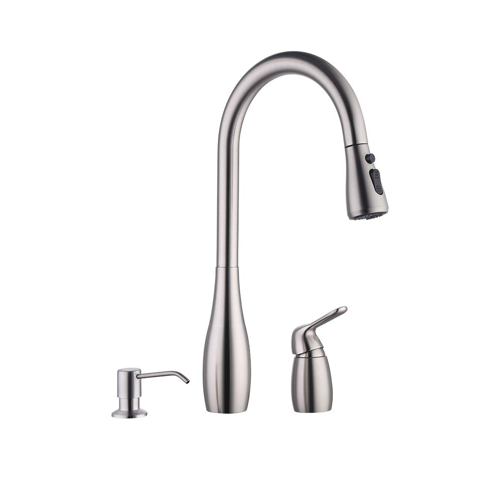 KES Kitchen Pull Down Sink Faucet Lead-Free Brass 3 Hole Gooseneck Kitchen Faucet Sprayer with Soap Dispenser Brushed Nickel, L6981LF-BN
