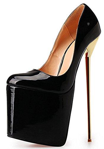 CAMSSOO Women's Super High Matal Heel Platform Evening Party Court Shoes Pumps Size Black Patent PU gVG59cva