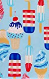 Red, White and Blue Summer Popsicles and Ice Cream Cones Vinyl Flannel Back Tablecloth (60' Round)