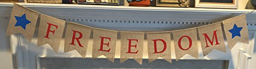 Freedom Burlap Patriotic Banner Bunting - 4th of July Party Decoration - Memorial Day Burlap Celebration Supplies - Honor Military Veterans Day Garland - by Jolly Jon ®