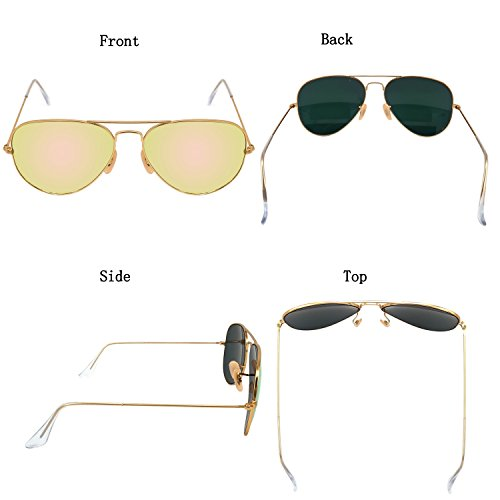 YuFalling Aviator Sunglasses for Men and Women Gold Frame/Cherry Pink Lens