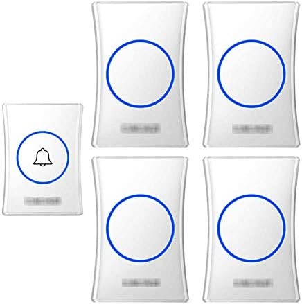 壁のプラグインコードレスドアチャイム、防水ドアベルキットのプラグ、1000フィートの範囲で最高のコードレスドアチャイム38チャイム4レベルボリューム(1つのプッシュボタンと4つのレシーバー),白