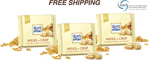 (White + Crisp - White Chocolate with Cornflakes and Rice Flakes 3 x 100 g, Ritter Sport/Germany)