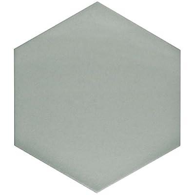 "SomerTile FCD10STX Abrique Hex Porcelain Floor and Wall Tile, 8.625"" x 9.875"", Grey"