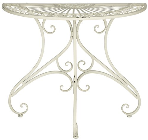 (Safavieh Outdoor Collection Annalise Antique White Accent Table)