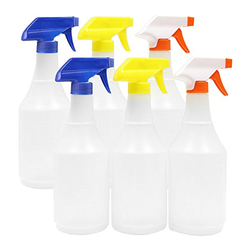 ChefLand 24 Oz Large Durable Round Empty Spray Bottles, Liquid / Water Spray Bottle, Value Pack of 6