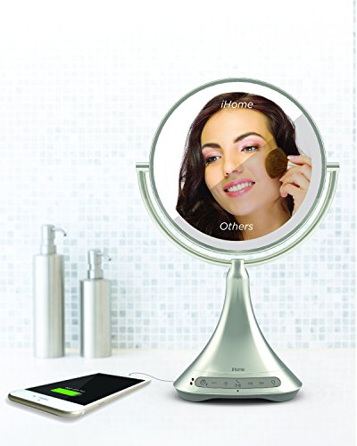 """41oPFHV9ayL - iHome All-In-One, 7X MAGNIFY, 9"""" 2-Sided LED Makeup Mirror, Bright LED Light Up Mirror, Natural Light, Double-sided Vanity Mirror, Hands-Free Bluetooth Speakerphone, Bluetooth Audio & Phone Charger"""