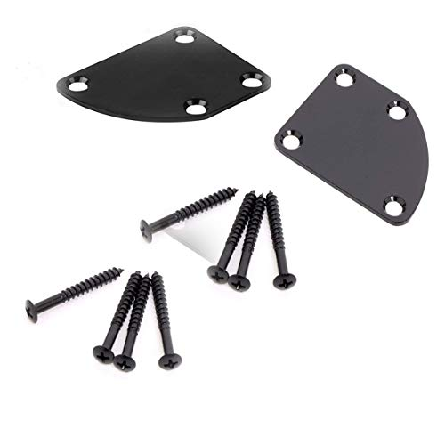 2Pcs Black 4 Holes Curved Neckplate Electric Guitar Neck Plate for Fender Strat Stratocaster Tele Telecaster with 8 Fixed Screws -