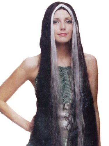 [Womens Long 36 inch Black & White Wig Long Streaked Black & Gray Hair Vampiress] (Black And White Streaked Wig)