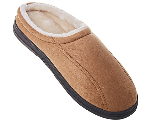 MIXIN Mens Microsuede Soft Vamp and Anti Slip Rubber Sole Indoor Warm Winter Slippers Light Brown 6VajvJ7T
