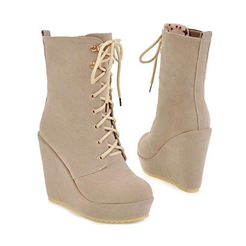 ZQ@QX El otoño y el invierno de cabeza redonda pendiente con los zapatos de tacón alto y versátil de gran ocio yardas, botas cortas botas hembra Beige
