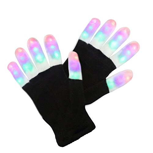 LED Gloves, 6 Modes 3 Color LED Finger Light up Gloves Colorful Flashing Rave Glow Lighting Fingertip Kids Glove Toys for Light Show Disco Party Clubbing Birthday Hallowmas Prop Christmas Gift Present