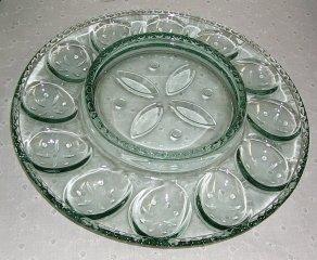 Longaberger Green Glass Deviled Egg Serving Plate New