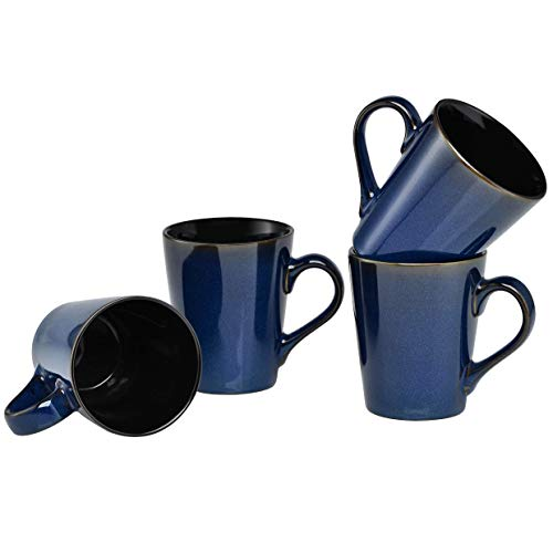 Culver Serenity Cafe Ceramic Mug, 12-Ounce, Blue, Set of - Mug Ceramic 12 Ounce