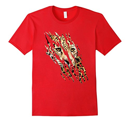 Mens Leopard Face & Claws Scratched t-shirt Love Leopard Eyes Medium (Scratched Face Halloween)