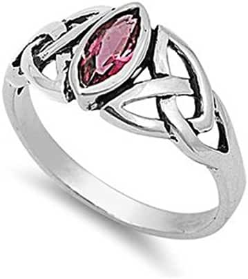 Sterling Silver Marquise Cut Pink Red Cubic Zirconia CZ Celtic Ring