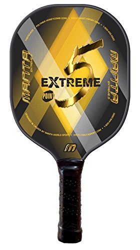 Extreme Point 5 Pickleball Paddle (Gold), Polymer Honeycomb Core with Fiberglass/Composite Skin, by Manta World (Extreme Paddle)