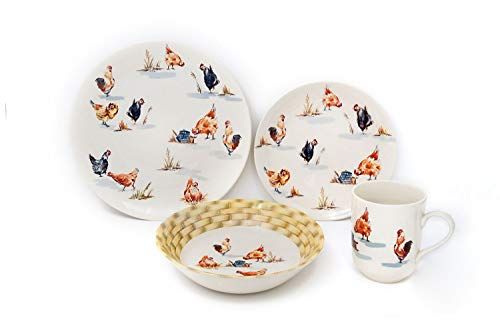 Cheap Tudor 24-Piece Premium Quality Porcelain Dinnerware Set, Service for 6 – Rooster;See 10 Designs Inside!
