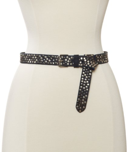 Streets Ahead Women's Vintage Suede Skinny Belt With Multi Flat Studs, Navy, X-Large (Belt Skinny Streets Ahead)