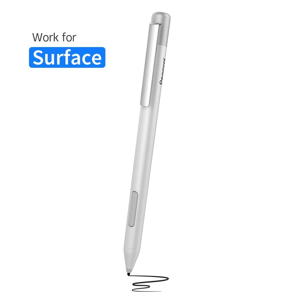 Surface Pen for Microsoft Surface Pro 6,Penoval Active Stylus for touch screen, Compatible for Surface Pro 5/Pro 4/Pro 3/2018/2017/Go/Laptop and More, 4A Batteries for surface pen-Silver by Penoval