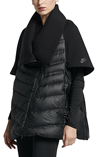 NIKE SPORTSWEAR TECH FLEECE AEROLOFT WOMEN'S DOWN CAPE Black Jacket (Large, Black/Black/Black)