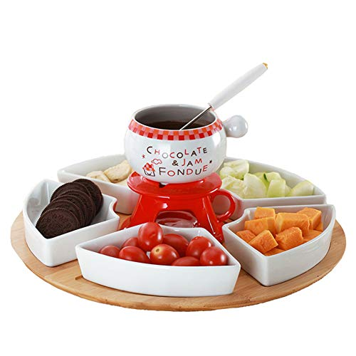 Ceramic Cheese Fondue With 4 Forks, 5 Pieces Of Fruit Snack Plates With Tray, Suit For Parties