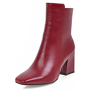Aisun Women s Simple Dressy Inside Zip Up Square Toe Booties Block Mid Heels  Ankle Boots with Zipper c2c535828