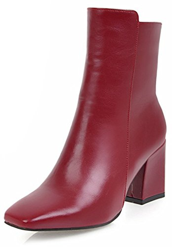 Aisun Women's Simple Dressy Inside Zip Up Square Toe Booties Block Mid Heels Ankle Boots with Zipper