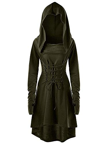 Hooded Renaissance Dress (leyay Womens Renaissance Costumes Hooded Robe Vintage Lace Up Pullover Long Hoodie Cosplay Dress Cloak Army)