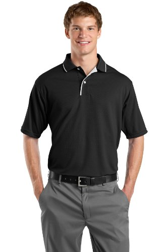 Sport-Tek Men's Dri Mesh Polo with Tipped Collar and Piping XXL Black/White