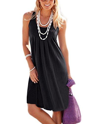 Traleubie Women's Casual Summer Tank Sleeveless Knee Length Vest Pleated Sun Dresses Black M