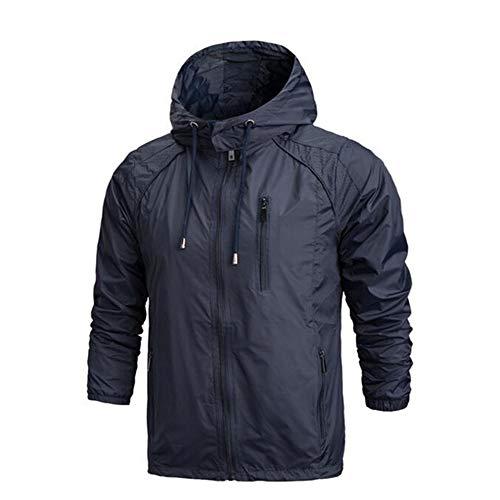 EWQ Ever Spring New Men Sportswear Thin Windbreaker Jacket Zipper Coats Outwear Hooded Jacket Navy Blue