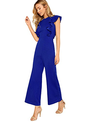 Romwe Women's Sexy Casual Sleeveless Ruffle Trim Wide Leg High Waist Long Jumpsuit Blue M -