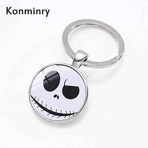 CHITOP Halloween Skeleton Key Chains Holder Glass Dome- Nightmare Before Christmas- Cartoon Skull Silver Bronze Keyring Jewelry Konminry (Silver (1))