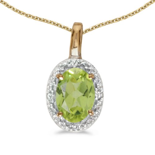 Jewels By Lux 14k Yellow Gold Genuine Birthstone Oval Peridot And Diamond Pendant (2/5 Cttw.)