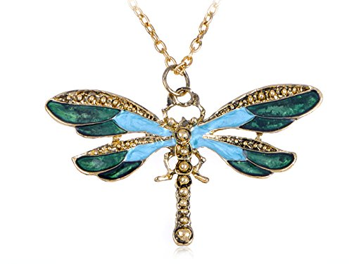 (Alilang Painted Wing Dragonfly Antique Blue Green Brass Tone Pendant)