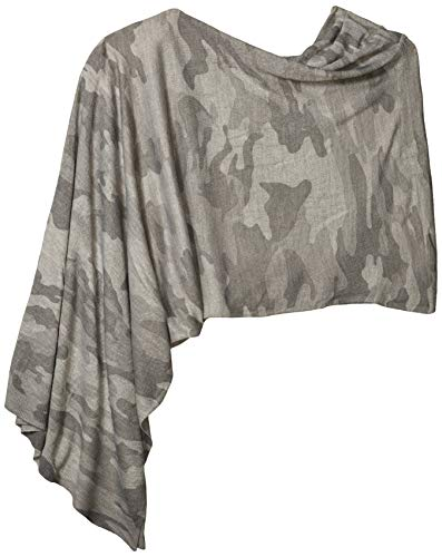 Tribal Women's Printed Poncho Scarf, Steel Grey, OS
