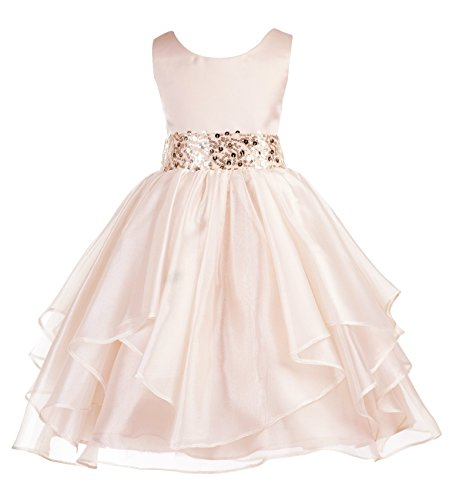 ekidsbridal Asymmetric Ruffled Organza Sequin Flower Girl Dress Toddler Girl Dresses 012S 12 Sequin Petticoat
