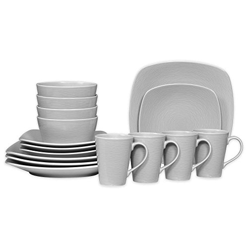 Noritake Grey on Grey Swirl 16-Piece Porcelain Square Dinnerware Set (Grey Square Sets Dinnerware)