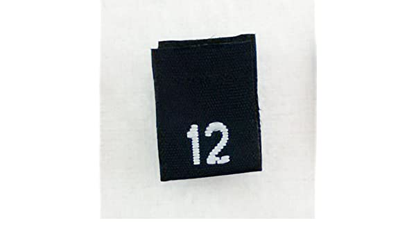 SIZE TAGS 100 PCS BLACK WOVEN SEWING CLOTHING LABELS SIZE 12 TWELVE