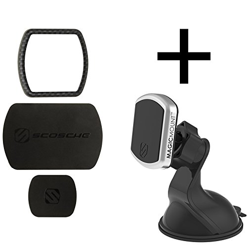 Scosche MagicMountTM Pro Window/Dash Bundle Kit Carbon Fiber - Cradle-Less, Magnetic Phone Car Mount With 360 Degree Swivel StickGripTM Suction Cup