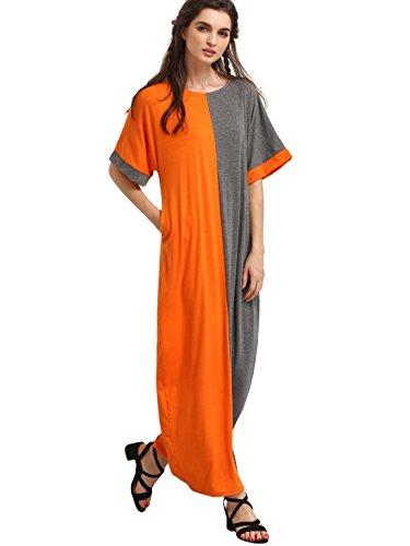Milumia Women's Summer Boho Color Block Pockets Caftan Maxi Dresses Orange L