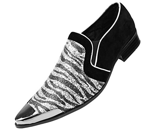 Amali Men's Exotic Print Metallic Sparkle Slip on with Faux Suede Trim & Metal Tip Dress Shoes