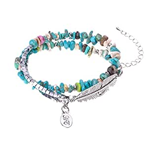 ZLYC Women Handmade Three-layer Turquoise and Metal Beads Bracelet Wrap Neacklace, Blue