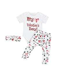 Susenstone Infant Baby Clothes Romper Pants Headband 3PCS Valentine's Outfits Set