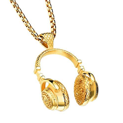 LANHI Music Rock Band Necklace DJ Headset Big Headphone Biker Charm Pendant Gold